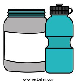 gym water bottle and proteins pot