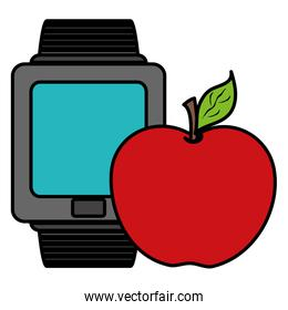 apple fresh fruit with smartwatch