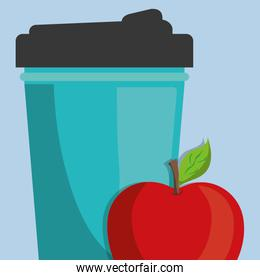 gym water bottle with apple