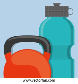 gym water bottle with dumbbells