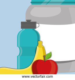 proteins pot plastic product with fruits