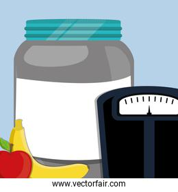 scale balance with proteins bottle