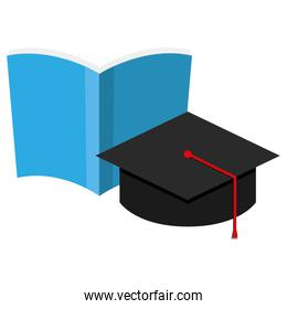 text book school with graduation hat