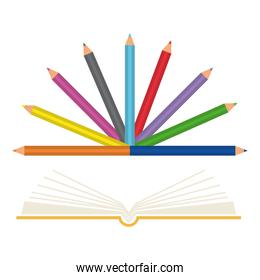 text book school with colors pencils
