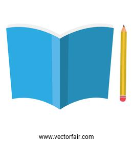 text book school with pencil