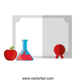 graduation diploma certificate with tube test and apple