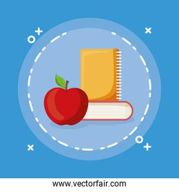 text book and notebook with apple