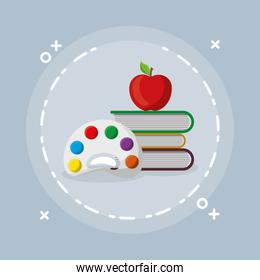 pile text books with pallette and apple