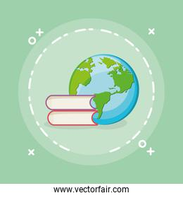 pile text books with world planet earth