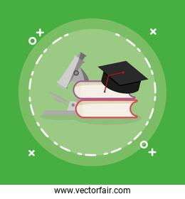 pile text books with graduation hat and microscope