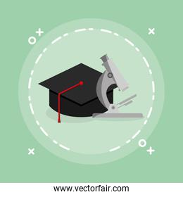 microscope science with graduation hat