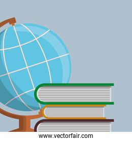 pile text books with world map