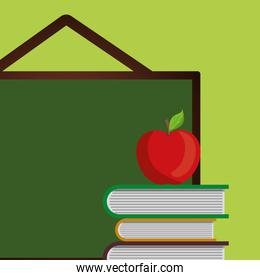 pile text books with chalkboard and apple