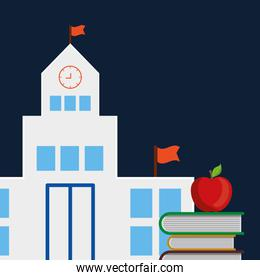 pile text books with school building and apple