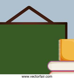 pile text books with notebook and chalkboard