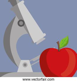 microscope science school supply and apple