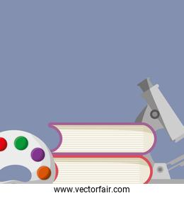 pile text books with microscope and pallette