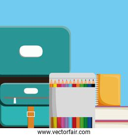 pile text books with pencils colors box and schoolbag