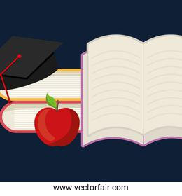pile text books with graduation hat and apple
