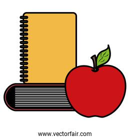 pile text books with notebook and apple