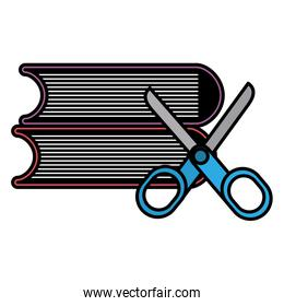 pile text books with scissors
