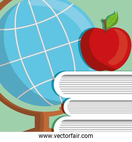 text books with world map and apple