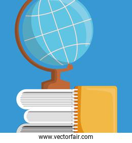 text book with world map