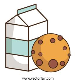 milk box packing with sweet cookie
