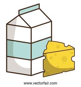 milk box packing with cheese piece
