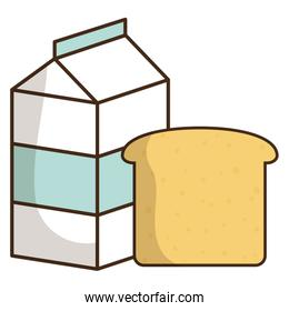 milk box packing with bread slice