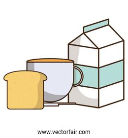 milk box packing with coffee cup and bread