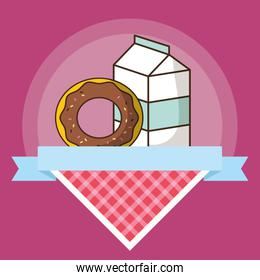 milk box packing with sweet donut