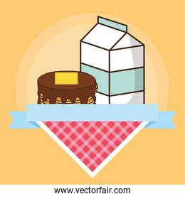 milk box packing with sweet cake