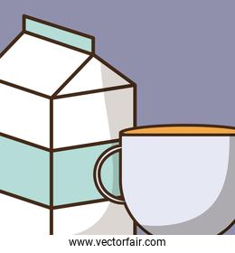 milk box packing with coffee cup