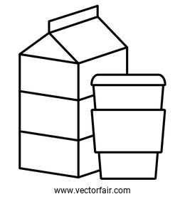 milk box packing with coffee plastic pot