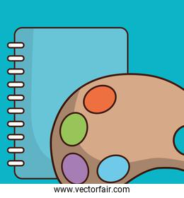 school notebook with pallette paint
