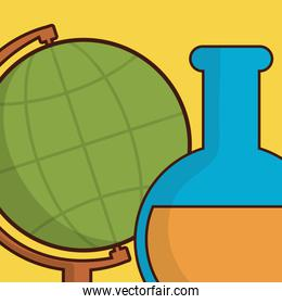 laboratory tube test with world map