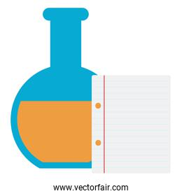 laboratory tube test with paper document school supply