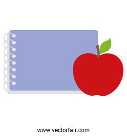 school notebook with apple vector illustration