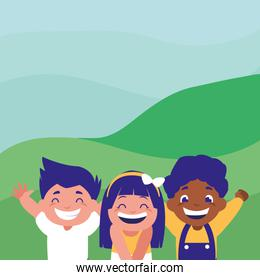 happy kids group in the camp interracial characters