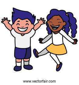 happy kids couple celebrating interracial characters
