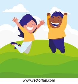 happy kids couple in the camp interracial characters