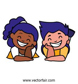 happy kids couple interracial characters