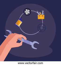hand using wrench key tool icon