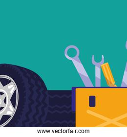 tools box mechanic with wrench keys and tire