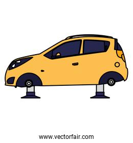 car vehicle without tires in mechanical workshop