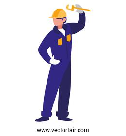 plumber with pipe wrench isolated icon