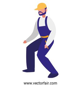 mechanic worker with overalls character