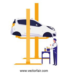 mechanic worker with car in platform