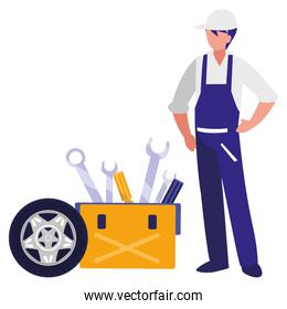 mechanic worker with tire car and toolbox